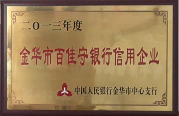 尔友针织-2013百佳守银行信用企业
