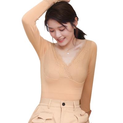 1803蕾丝打底衫毛圈加厚保暖上衣